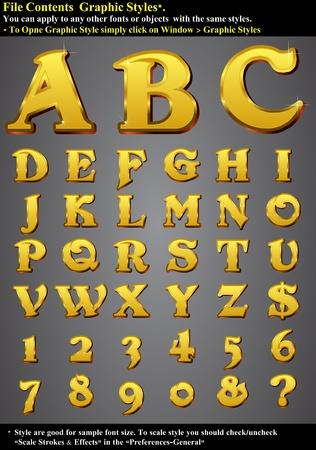 font: Conjunto de caracteres, oro en relieve-EPS 10 contienen estilo gr�fico