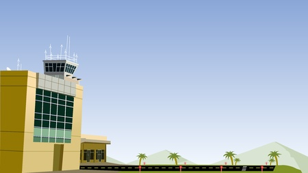 Aeropuerto y plano de ejecutar de forma Foto de archivo - 9482691