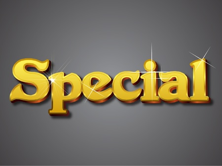 Special Write in Gold Emboss Font Vector
