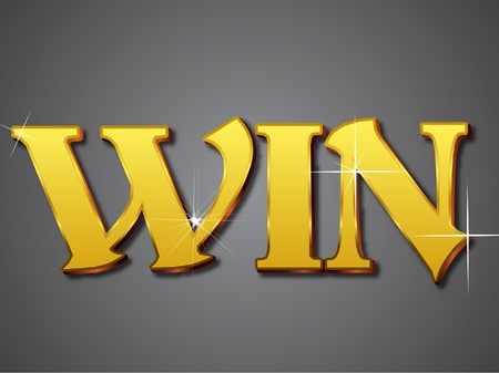 Win Writing in Gold Emboss Letter Illustration