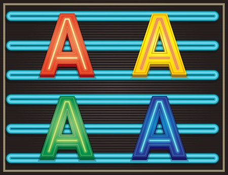 ransom: Vector Neon Alphabet - Letter A Illustration