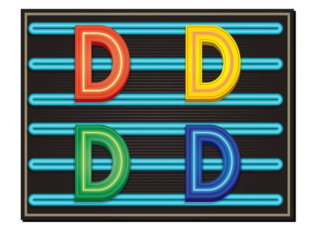 block letters: Vector Neon Alphabet - Letter D Illustration