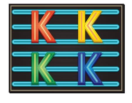 Vector Neon Alphabet - Letter K Stock Vector - 9482766