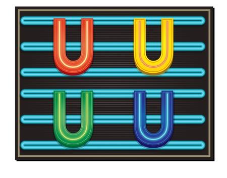 letter blocks: Vector Neon Alphabet - Letter U