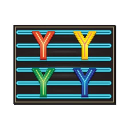 Vector Neon Alphabet - Letter Y Stock Vector - 9482759