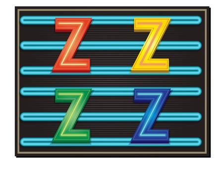 letter blocks: Vector Neon Alphabet - Letter Z