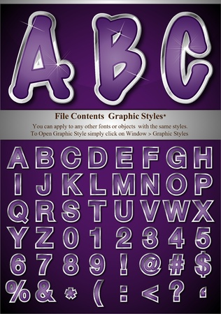File Contents  Graphic Styles* You can apply to any other fonts or objects  with the same styles.  To Open Graphic Style simply click on Window > Graphic Styles   * Style are good for sample font size Stock Vector - 9542552