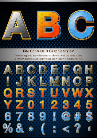 typesetter: File Contents  Graphic Styles* You can apply to any other fonts or objects  with the same styles.  To Open Graphic Style simply click on Window > Graphic Styles   * Style are good for sample font size Illustration