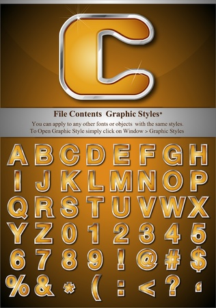 File Contents  Graphic Styles* You can apply to any other fonts or objects  with the same styles.  To Open Graphic Style simply click on Window > Graphic Styles   * Style are good for sample font size Stock Vector - 9542510