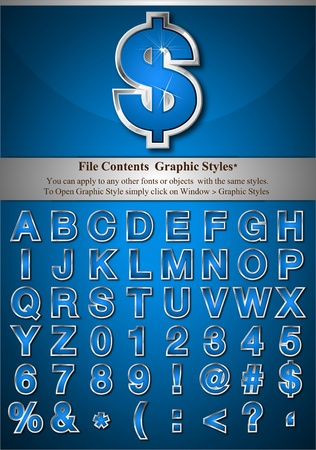 File Contents  Graphic Styles* You can apply to any other fonts or objects  with the same styles.  To Open Graphic Style simply click on Window > Graphic Styles   * Style are good for sample font size Vector