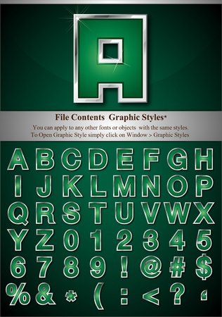 File Contents  Graphic Styles* You can apply to any other fonts or objects  with the same styles.  To Open Graphic Style simply click on Window > Graphic Styles   * Style are good for sample font size Stock Vector - 9542567