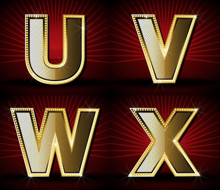 Vector Luxurious Gold Diamond Alphabet Vector