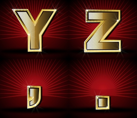 Vector Luxurious Gold Diamond Alphabet Vector