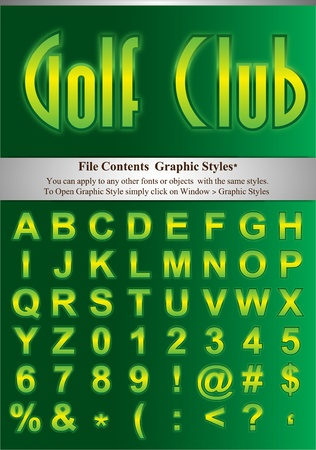 typesetter: Green alphabet with simple stroke. File Contents Graphic Styles. You can apply to any other fonts or objects with the same styles.