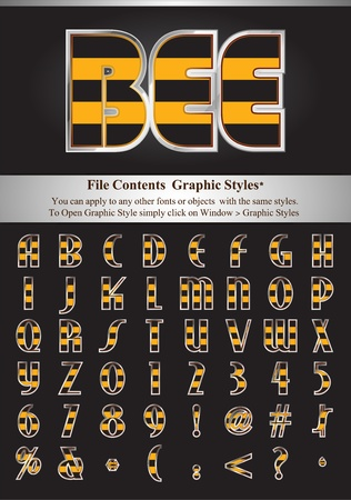 Bee skin alphabet with simple silver stroke. File Contents Graphic Styles. You can apply to any other fonts or objects with the same styles. Vector