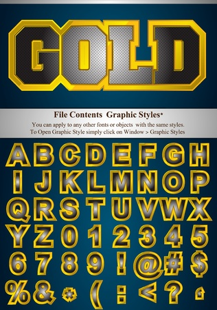 letterpress letters: Metallic alphabet with gold stroke. File Contents Graphic Styles. You can apply to any other fonts or objects with the same styles. Illustration