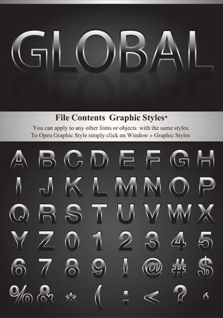 letras negras: Alfabeto negro con trazo simple de plata. Estilos gr�ficos de contenido de archivo. Puede aplicar a cualquier otras fuentes u objetos con los mismos estilos.