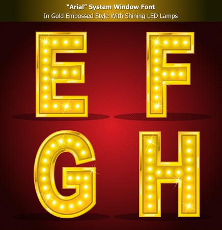 alight: Gold Alphabet Style With Shining LED Lamps, Font Style Created Using Window System Font. Illustrator EPS 10, Be Able to scale to any big size without loss resolution