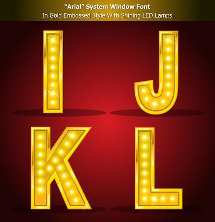 spotlight lamp: Alfabeto stile oro con splendente lampade a LED, stile Font creato utilizzando la finestra Font di sistema. Illustrator EPS 10, in grado di scalare a qualsiasi dimensione grande senza risoluzione perdita