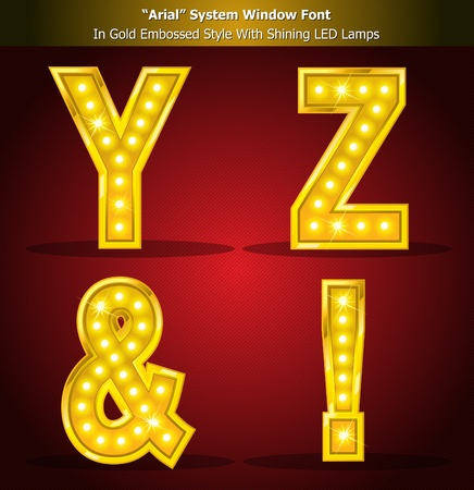 Gold Alphabet Style With Shining LED Lamps, Font Style Created Using Window System Font. Illustrator EPS 10, Be Able to scale to any big size without loss resolution