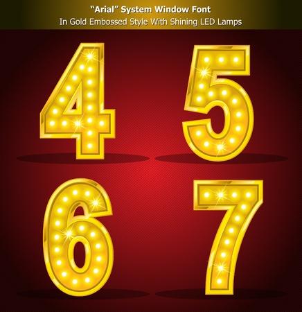 spotlight lamp: Alfabeto Style oro con brillanti lampade a LED, Stile font creati con Window System Font. Illustrator EPS 10, essere in grado di adattarsi a qualsiasi dimensione grande senza perdita di risoluzione