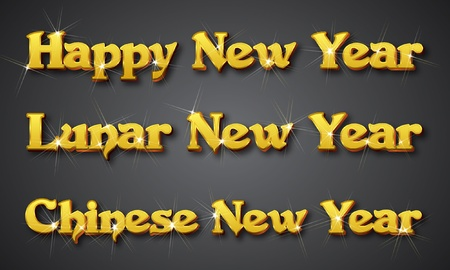 New Year Heading. Vector illustrator format. Designed with big font in golden shining color Stock Vector - 9913417