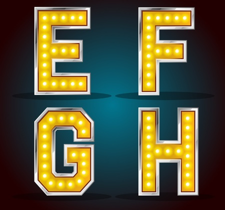 led light: Commercial free font with gold shinning lamps Illustration