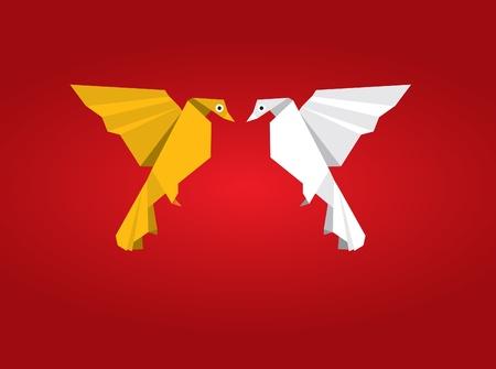 Origami Couple Bird Vector