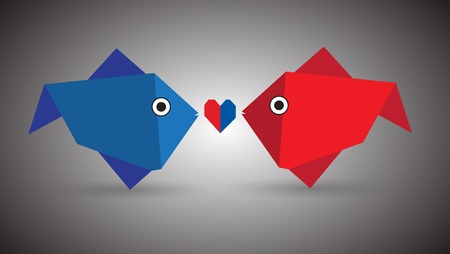 Origami Couple Fish Vector