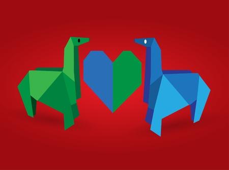Origami Couple Dinosaur Vector