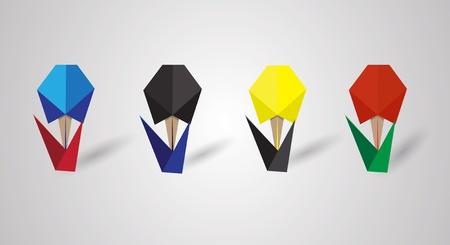 origami Flowers Vector
