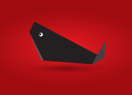 Origami Black Whale Vector