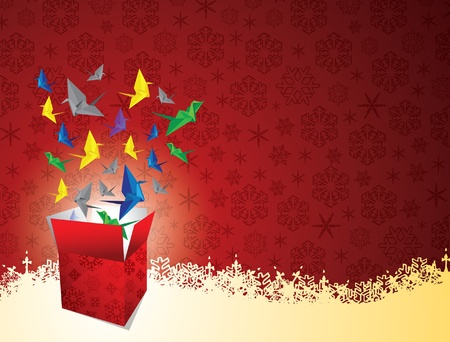 red christmas pattern with snowflakes and gift box of origami bird Illustration