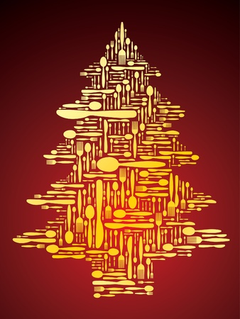 Cutlery as Christmas tree  Vector