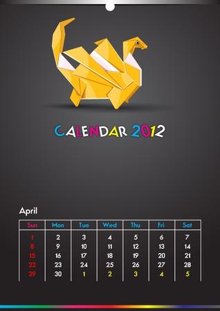 Dragon Calendar 2012 Template Vector