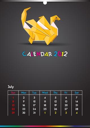 Dragon Calendar 2012 Template Stock Vector - 10794693