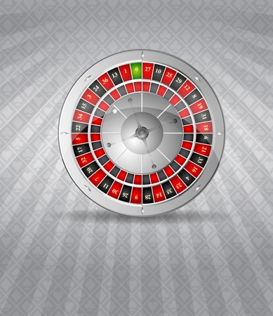 luck wheel: Vector illustration of 3D silver roulette Illustration