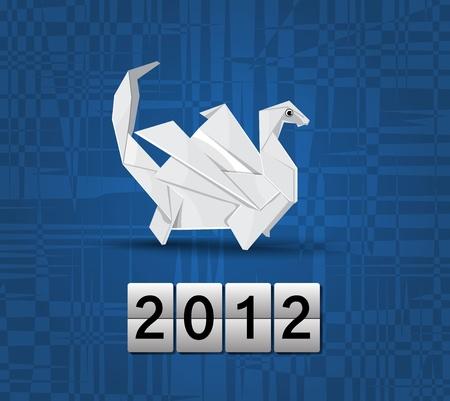 Vector origami dragon 2012 Vector