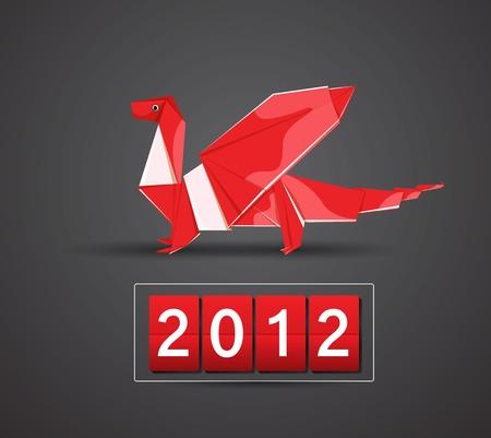 Vector origami dragon 2012 Stock Vector - 11575461