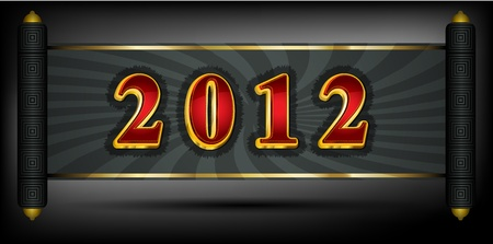 2012 write in red and golden font Vector