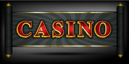 Casino write in red and golden font Vector