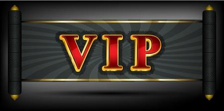 vip symbol: Escritura VIP en fuente de color rojo y dorado Vectores