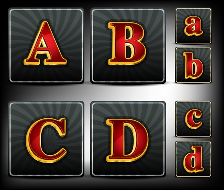 Set alphabet in red and gold embossed system font Illustration