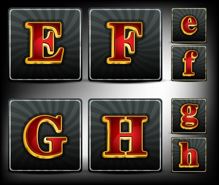 embossed:  Set alphabet in red and gold embossed system font Illustration