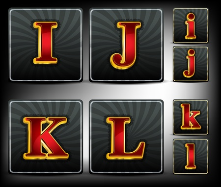 style wealth:  Set alphabet in red and gold embossed system font Illustration
