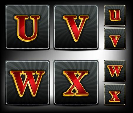 originales: Establecer alfabeto fuente del sistema roja y oro en relieve Vectores