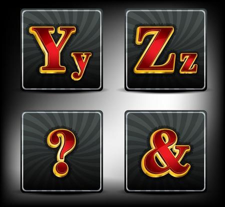 Set alphabet in red and gold embossed system font Illustration
