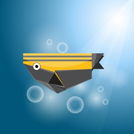 Vector origami stripe fish Stock Vector - 11575473