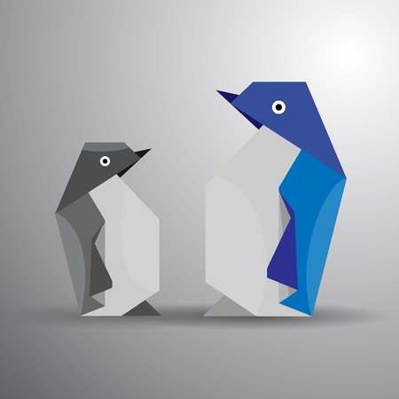 origami bird: Vector origami couple of penguin