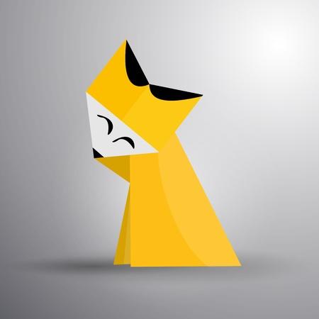 Vector origami cute fox Vector